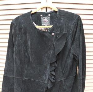 Isaac Mizrahi Asymmetric Ruffle Suede Jacket